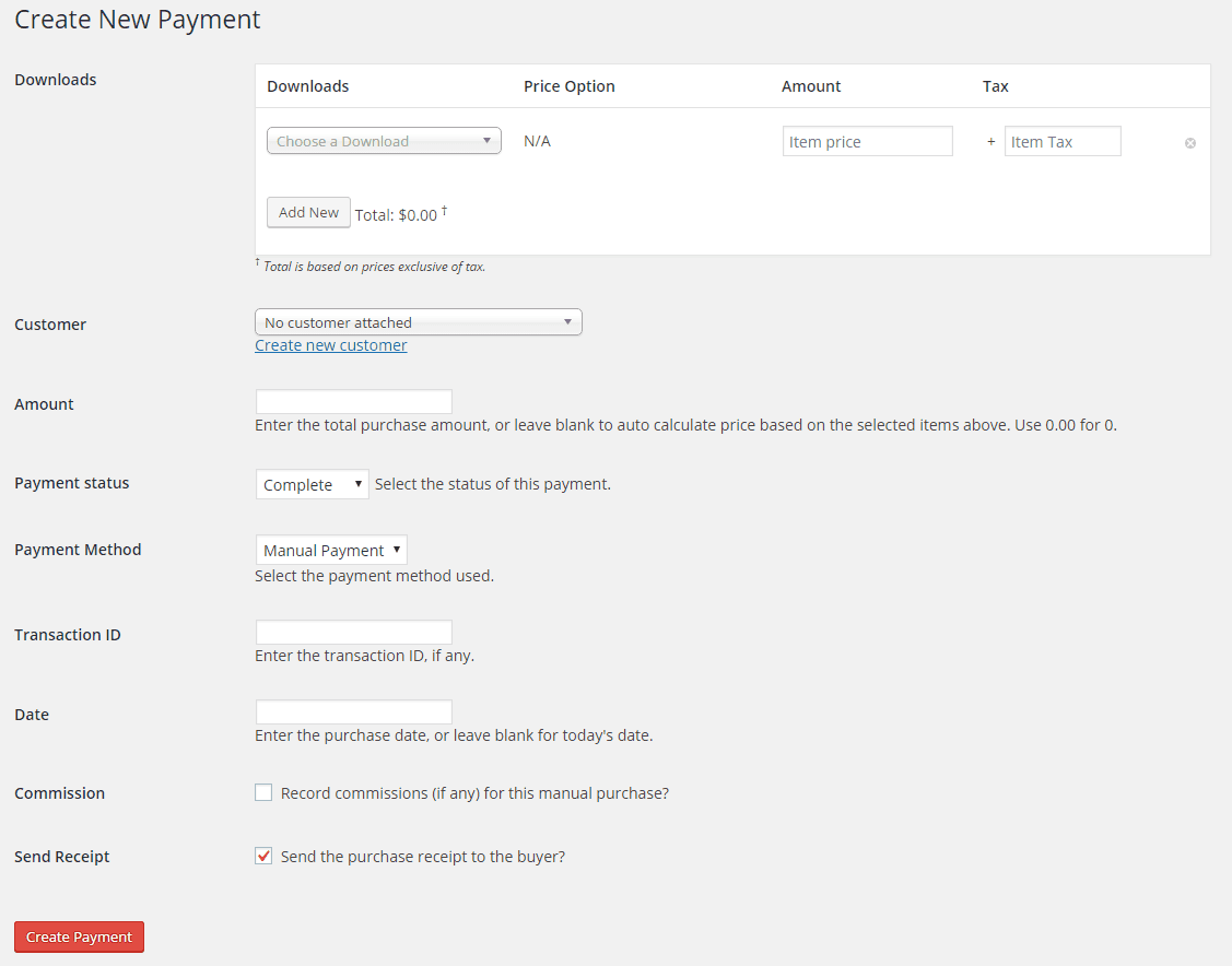 Interface for creating a new manual payment